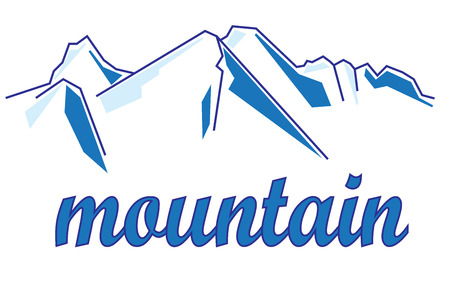 snowy hill: Mountain, abstract pattern, logo in vector EPS