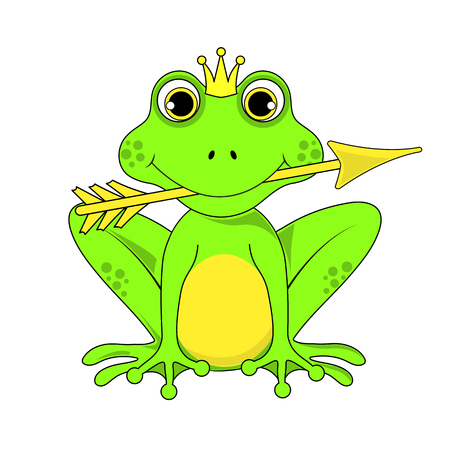 frog Princess crown with arrow on white background in vector EPS 10. Illustration