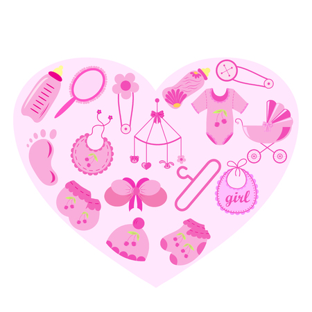 Set of baby shower elements isolated on white background. Vector illustration.