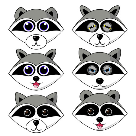 raccoon gargle, head, facial expression and emotion illustration on white background in vector set.