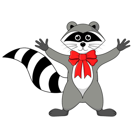 raccoon gargle with bow on the neck illustration on a white background in vector.