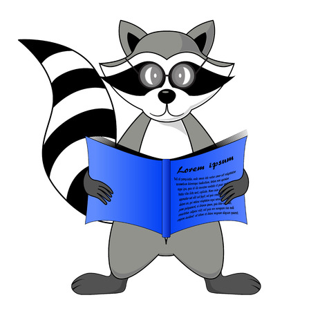 raccoon gargle with a book in hand illustration in white background in vector.