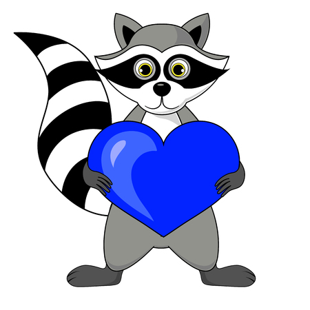 gargle raccoon with heart in hands illustration on white background in vector.