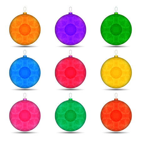 set of Christmas toys balls in different colors. Illustration