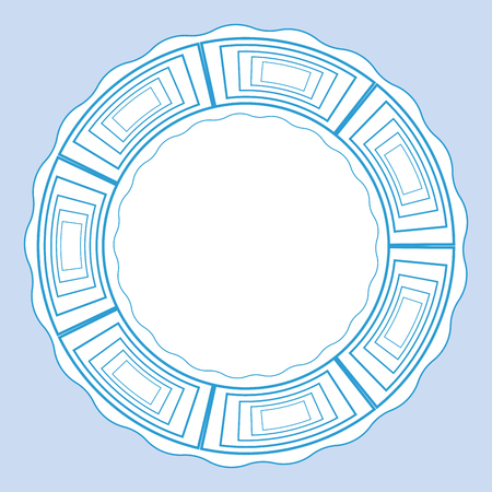 porcelain plate: Plate with blue decorative border. Template design in ethnic style Gzhel porcelain painting.