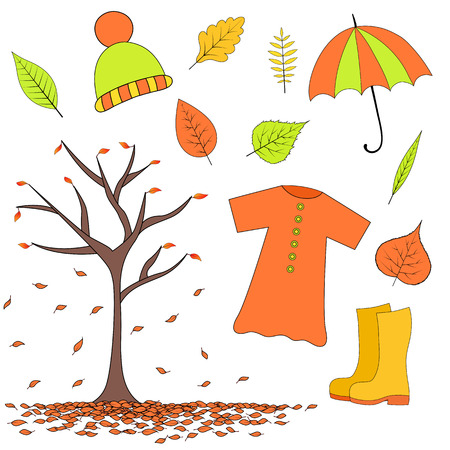 set of autumn items from leaves, rubber boots, raincoat, hat and umbrella.