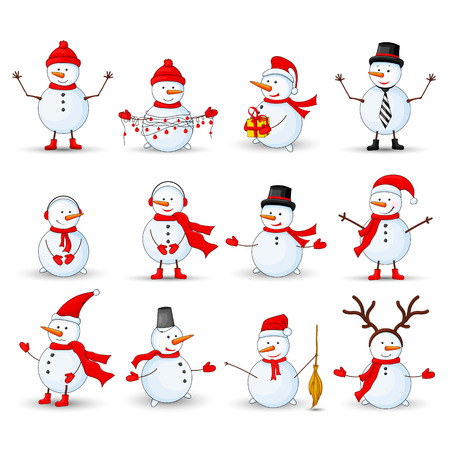 Snowmen set on a white isolated background.