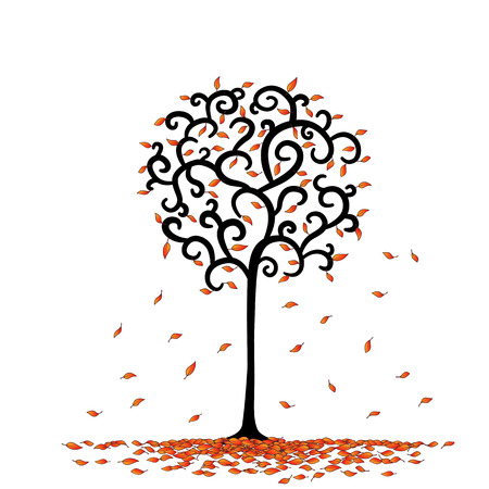 roundness: leaf and tree is rounded cartoon in vector.
