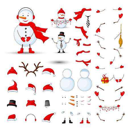 Snowmen body parts, transformer set on a white isolated background.