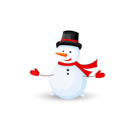 snowman in hat on head over white background.
