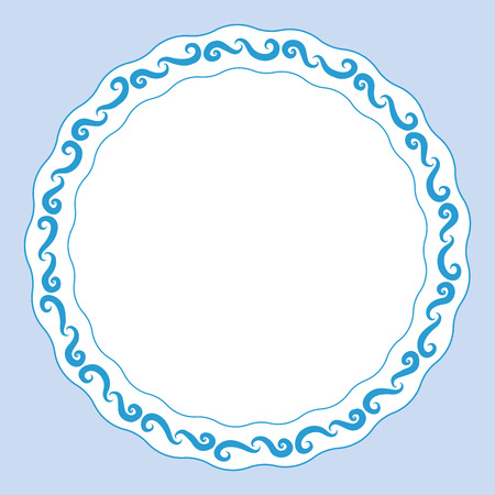 Plate with blue decorative border. Template design in ethnic style Gzhel porcelain painting.