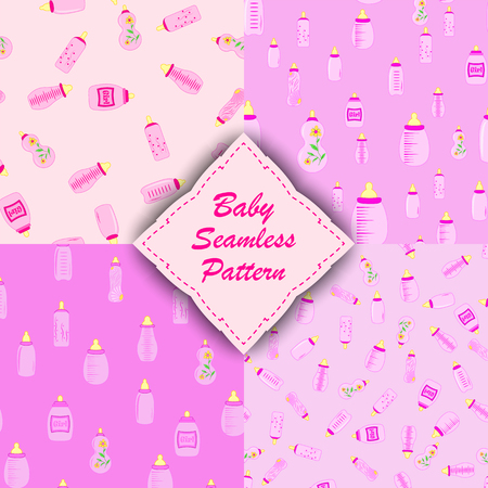 soothers: bottle baby. Set of seamless patterns for kids.