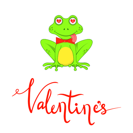 Postcard on Valentines day with frogs and lettering
