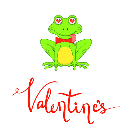 Postcard on Valentines day with frogs and lettering.