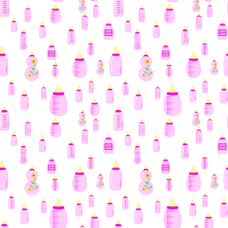soothers: bottle baby. seamless pattern for children girls Illustration