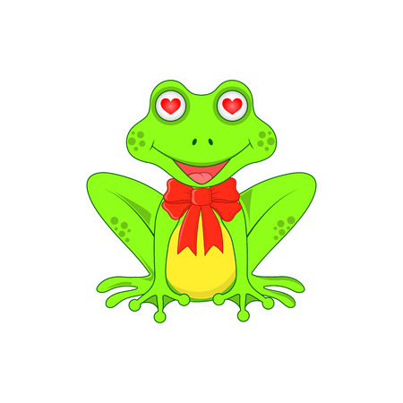 Love the frog with a bow on white background isolated. Illustration