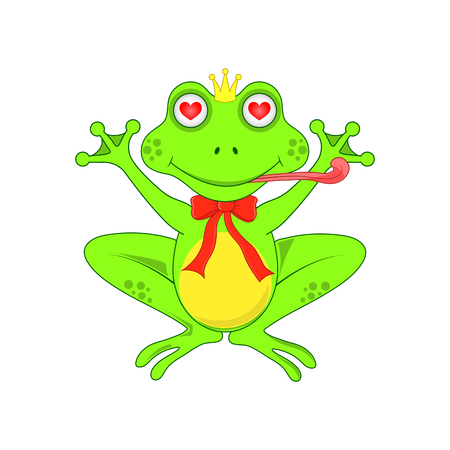 amorousness: Love the frog with a bow on white background isolated. Illustration