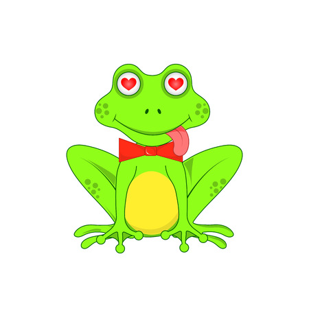 amorousness: Love the frog with a bow on white background isolated. Stock Photo