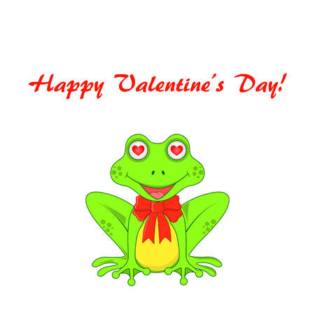 amorousness: Postcard on Valentines day with frogs isolated