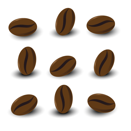 Coffee beans set on white background isolated Illustration
