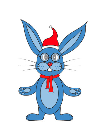 blue rabbit on a white background with a scarf.