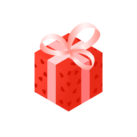 red gift isometry on Valentines day in vector