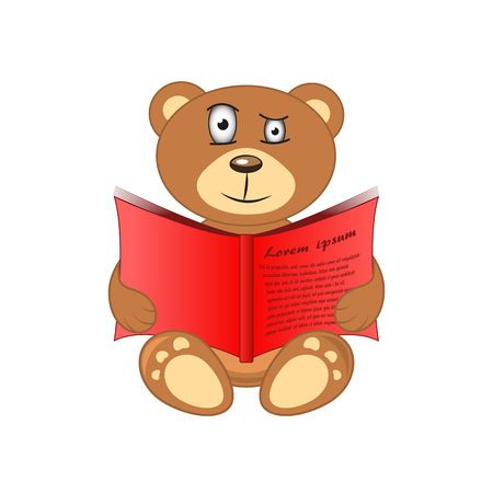 angry teddy: bear with book in hand on white background.