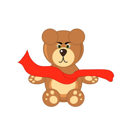 angry teddy: bear with scarf on white background isolated.