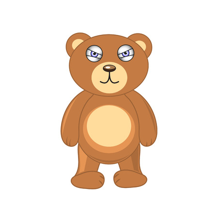 screwed: brown bear on a white background isolated.