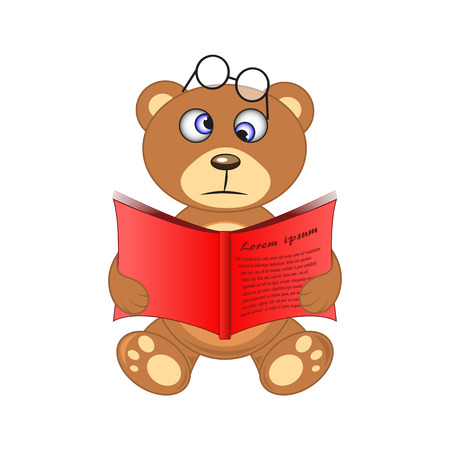 bear with book in hand on white background.