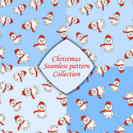 osos navideños: white Christmas bears set of seamless pattern different colors.