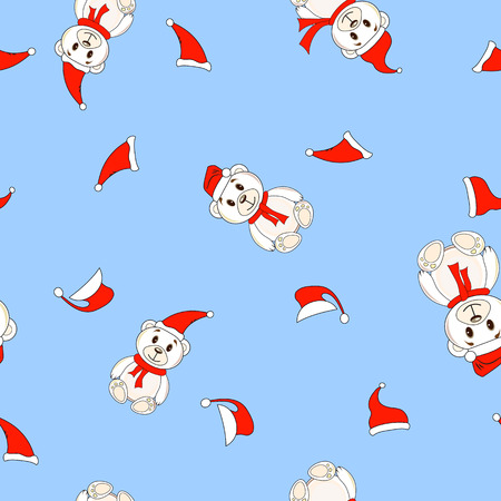 Bears in Christmas hats Santa Claus pattern seamless background.