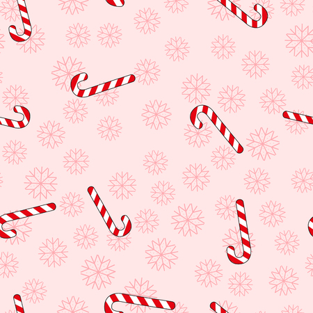 Christmas seamless pattern with candy and snowflakes. Illustration