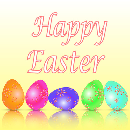 Easter card with painted eggs vector EPS 10