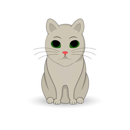 Gray cat sitting up. Cartoon mascot. Isolated illustration on white background. Çizim
