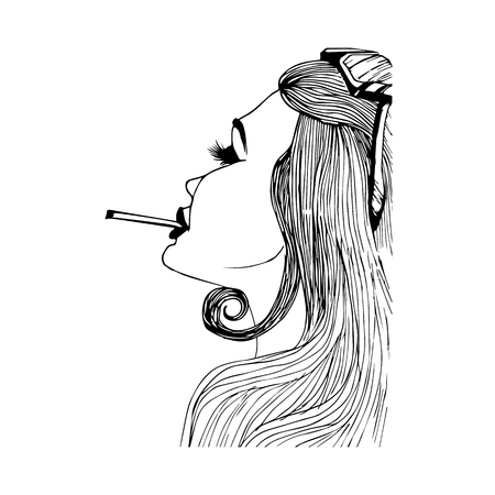 cigar smoking woman: Girl is hand-painted with cigarette on a white background
