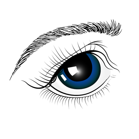 blue eyes are painted by hand. Izolirovannoi image. Illustration