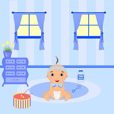 Baby room interior. Flat design. Newborn baby room with window, toys, cot, dedside table. Illustration