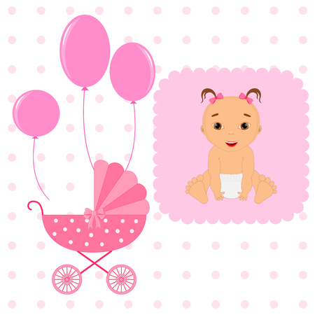 Amazing Baby Shower or Arrival set. Tags, banners, labels, cards with cute kids illustration. Illustration
