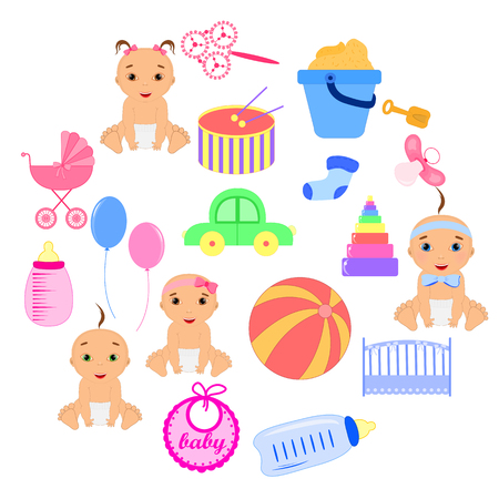 Conjunto de elementos de ducha de bebé aisladas sobre fondo blanco Vectores