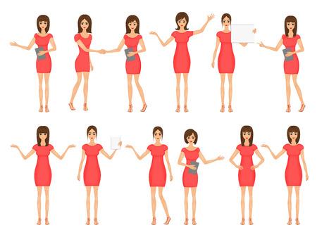 Satz von Mädchen in Kleidern und Sandalen. Illustration von Geschäftsfrauen