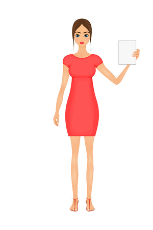 Illustration of cute cartoon business woman in a red dress with a sign.