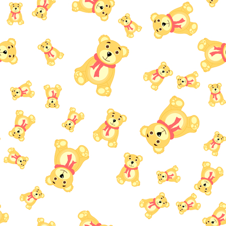 Seamless Pattern With Bears Baby Wallpapers Paper Stock Vector