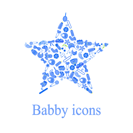 baby announcement card: Set of baby shower elements isolated on white background. star