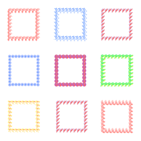 baby announcement card: Set of frames for babies. Different toys for children. Illustration