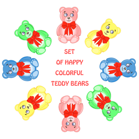 post card from bears of different colors arranged in a circle Illustration