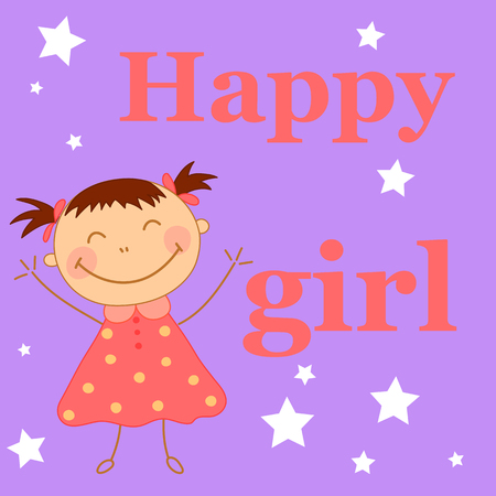 Baby girl waving hands. Greeting card for child's birthday
