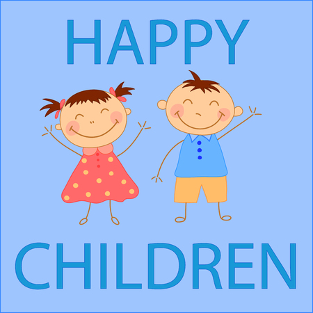 Kids waving their hands a boy and a girl. Greeting card for childs birthday