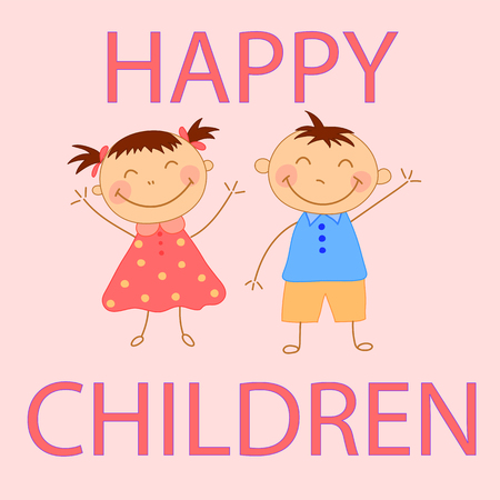 Kids waving their hands a boy and a girl. Greeting card for child's birthday