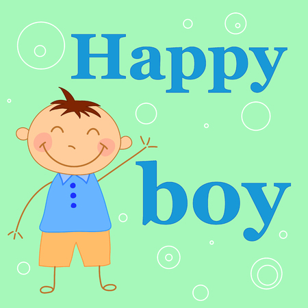 Baby boy waving his arms. Greeting card for child's birthday